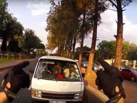 Biker tells taxi to turn back