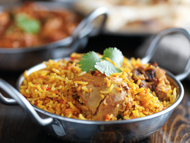 dish with chicken biryani