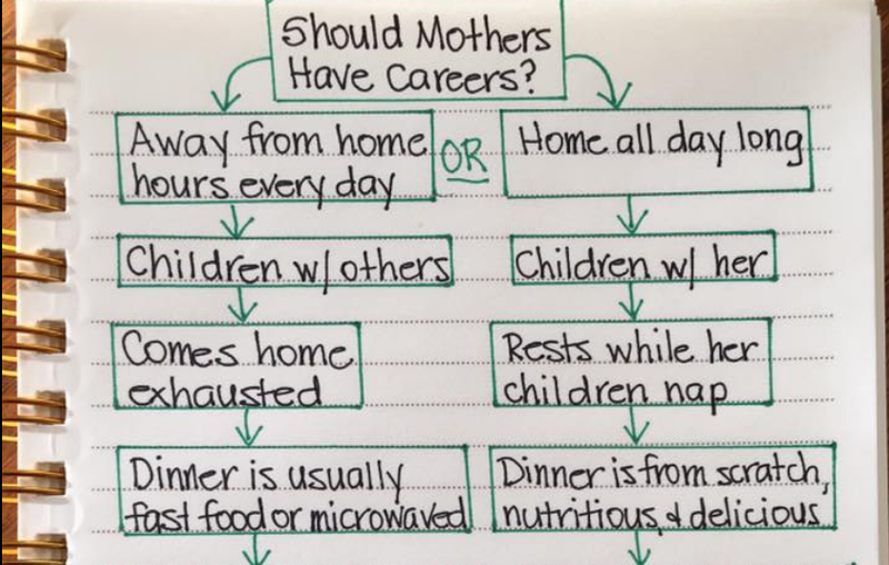 woman's chart about stay at home moms  and working moms