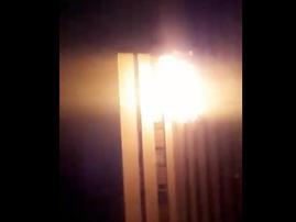 Burning building in Johannesburg