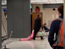 Dad drags daughter