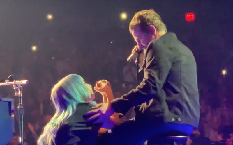 Lady Gaga and Bradley Cooper on stage in Vegas / YouTube