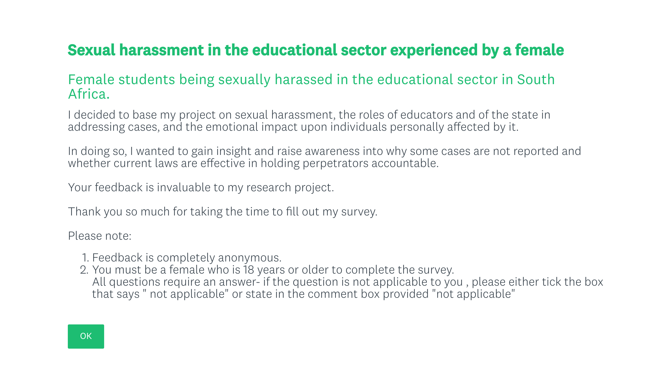 Information about the sexual harassment survey / SurveyMonkey