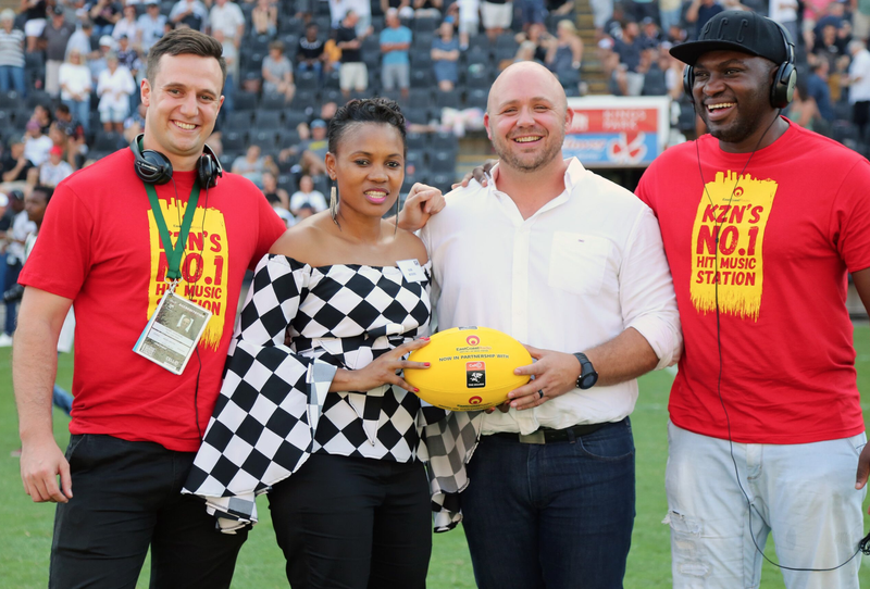 ECR General Manager hands over the yellow ball to The Sharks COO Eduard Coetzee