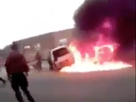 Taxi up in flames