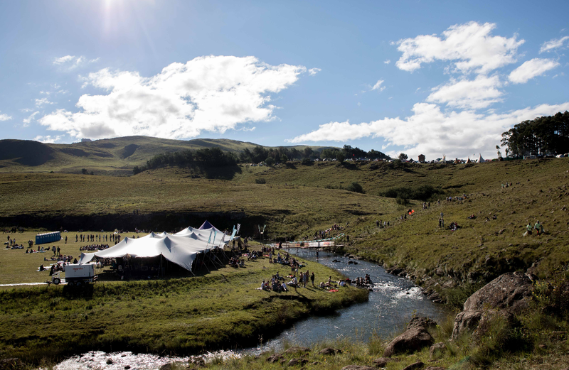 The ever-popular Corona River Stage area, where fans spend hours frolicking along the river banks.