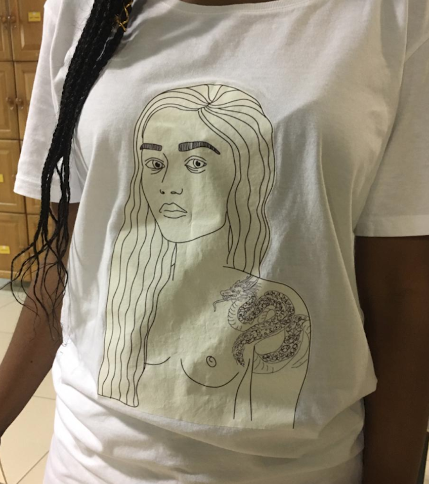 Woman's t-shirt at the office / Supplied