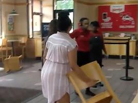 Chair thrown in restaurant fight