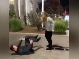 Girl beats boyfriend
