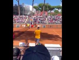 Tennis player Nick Kyrgios throws chair on tennis court