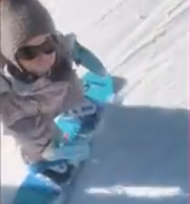 Toddler snowboards like a pro