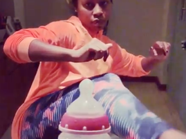 Elana does the Bottle Cap Challenge