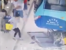 Toddler nearly hit by bus