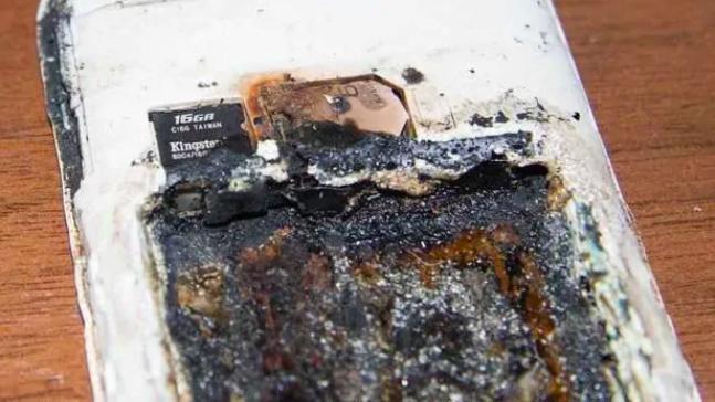 Phone explodes