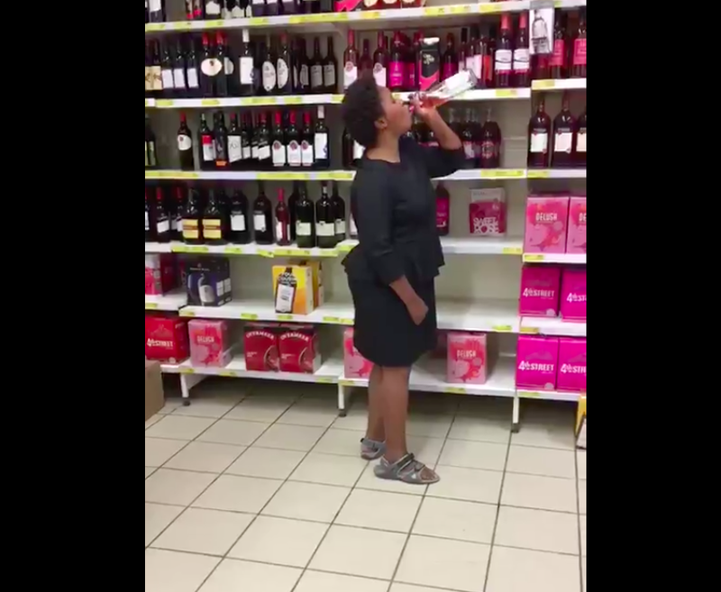 Woman Drinks In Store