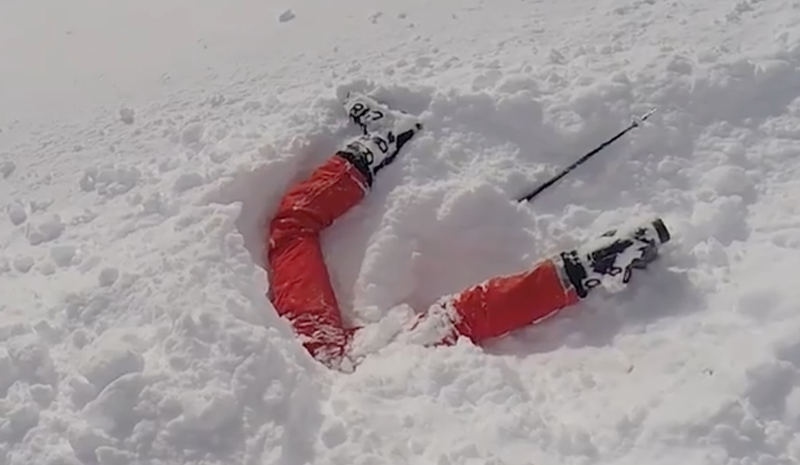 Woman trapped in snow