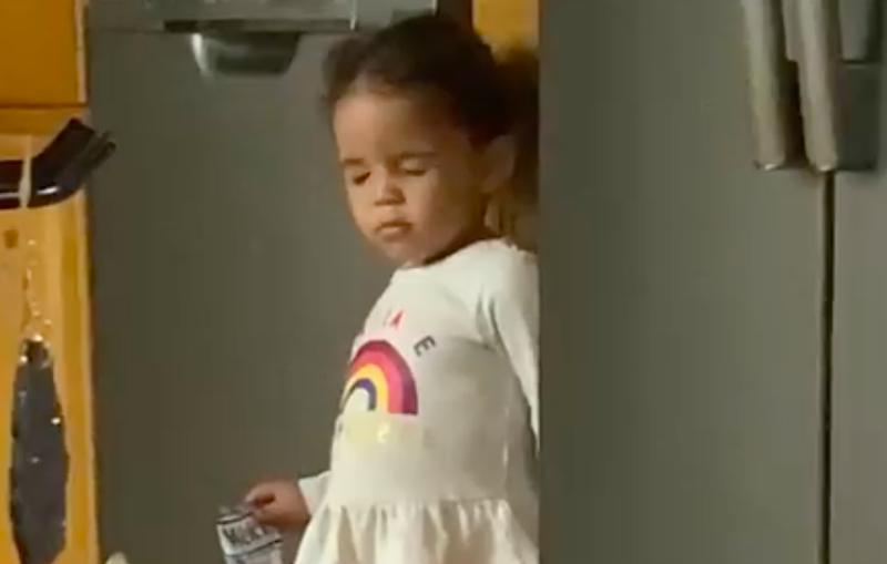Girl pretending to be asleep
