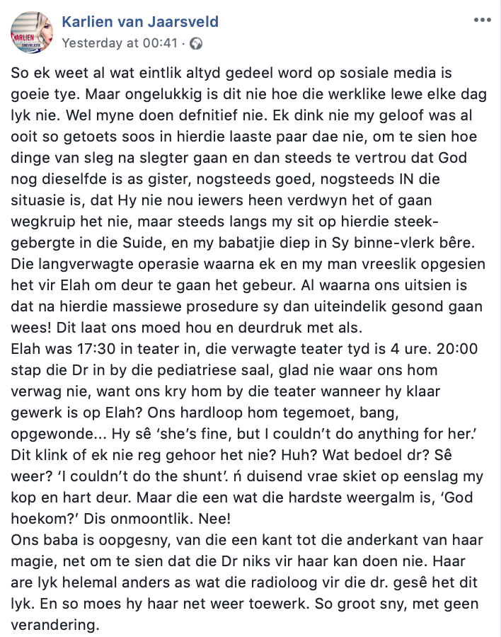 Karlien van Jaarsveld Facebook een