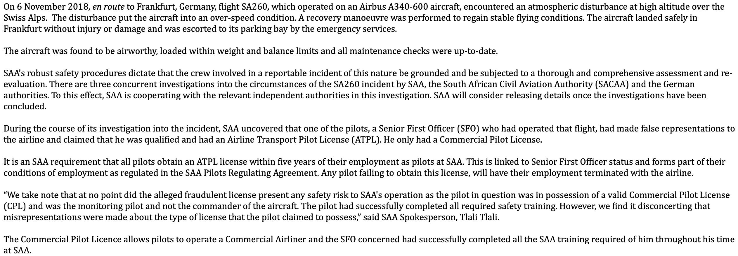 SAA statement Breakfast with Martin Bester