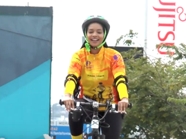 Liesl Laurie learns to ride a bicycle
