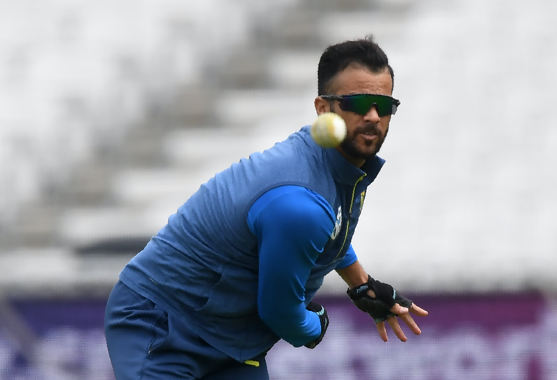 South Africa's JP Duminy bowls during a training session on the eve of their opening match of the ICC Cricket World Cup against England, at The Oval in London on May 29, 2019.  Dibyangshu SARKAR / AFP