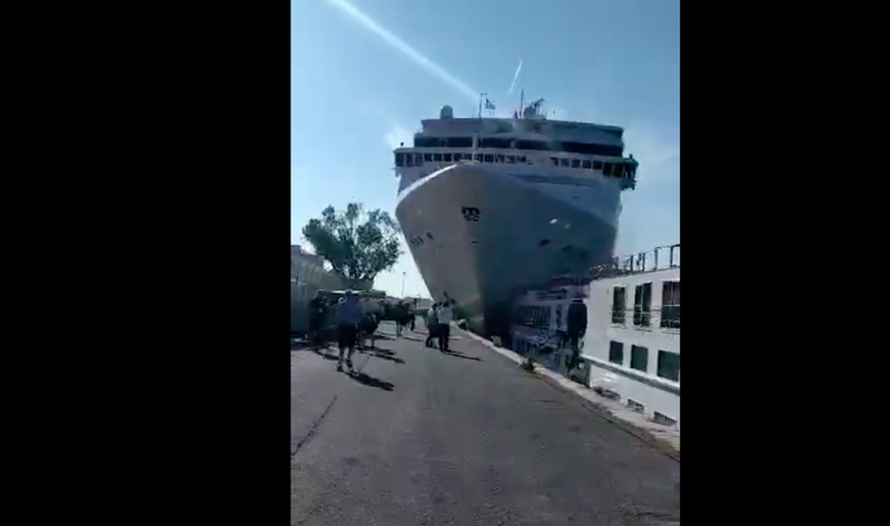 MSC Opera slams into Venice wharf on 2Jun'19 / Facebook