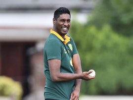 Myron Naicker in a Springbok jersey playing cricket / Instagram