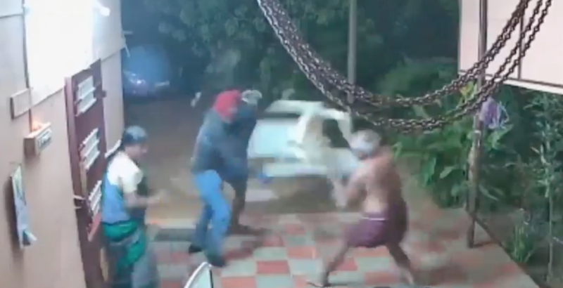 Patio furniture and flip-flops beat machetes in epic fight