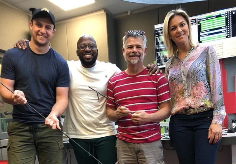 Connie Hallowell, G-Dog, Mags, and Bongani in studio / Nobuntu Swartbooi