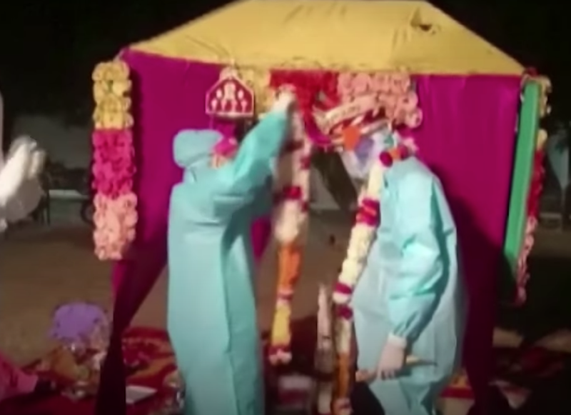 The India couple who got married in PPE