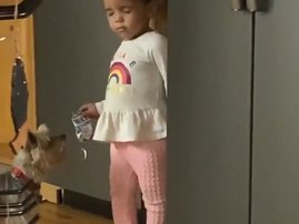 Toddler seeping upright