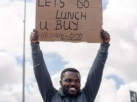 Lusindiso Malgas, the funny placards guy