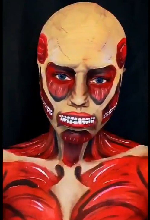 Local make-up paints cosplay body art for Halloween