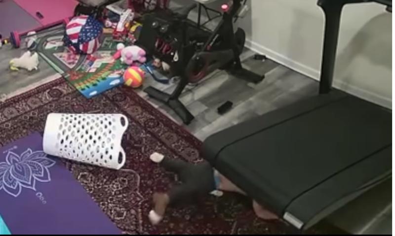 child dragged under treadmill