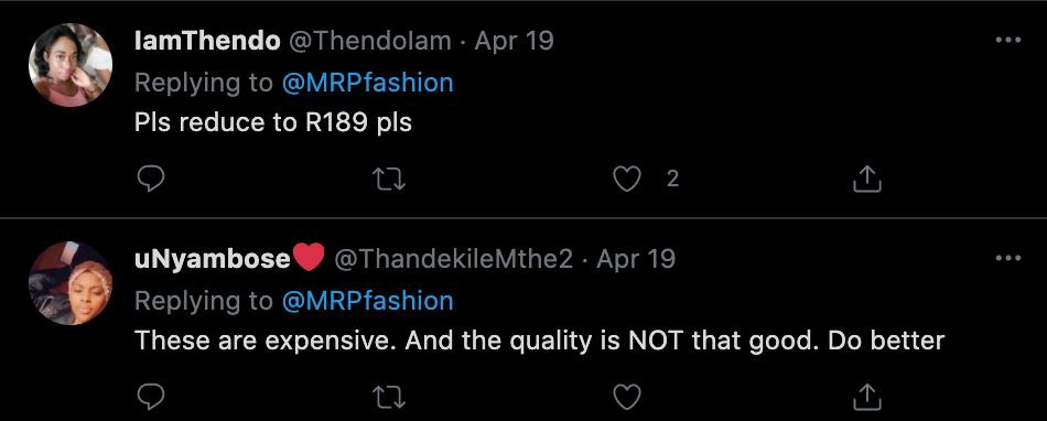 Twitter response for Mr Price loungewear