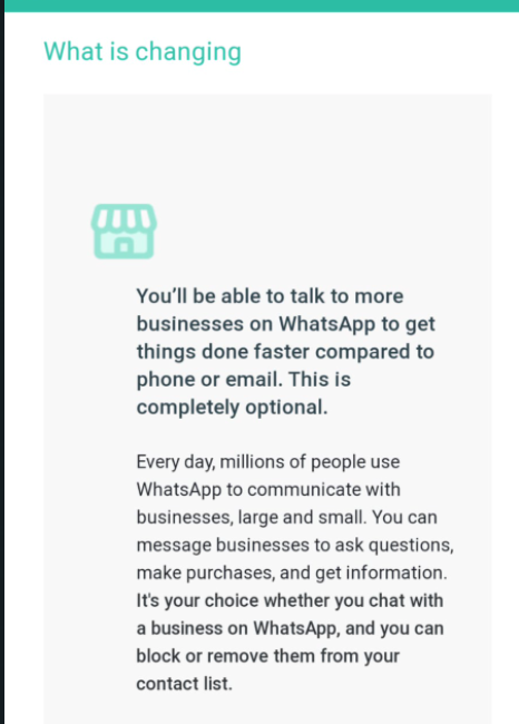 What's changing on Whatsapp