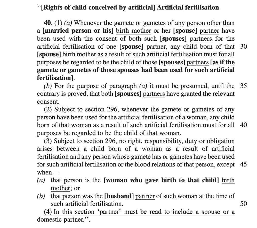 Artificial fertilisation Children's Amendment Bill