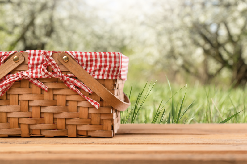 Picnic basket on the table Summer mood. relaxation. holiday stock photo