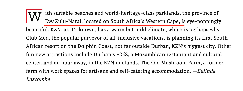 TIME Magazine wrong KZN location