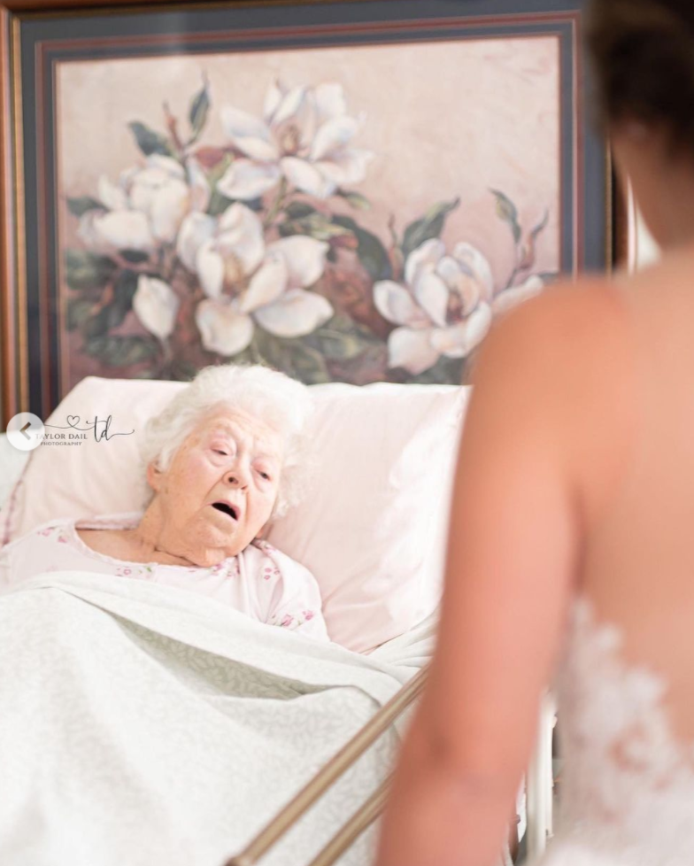A bride who couldn't let her wedding day pass by without her grandmother seeing her wedding dress.