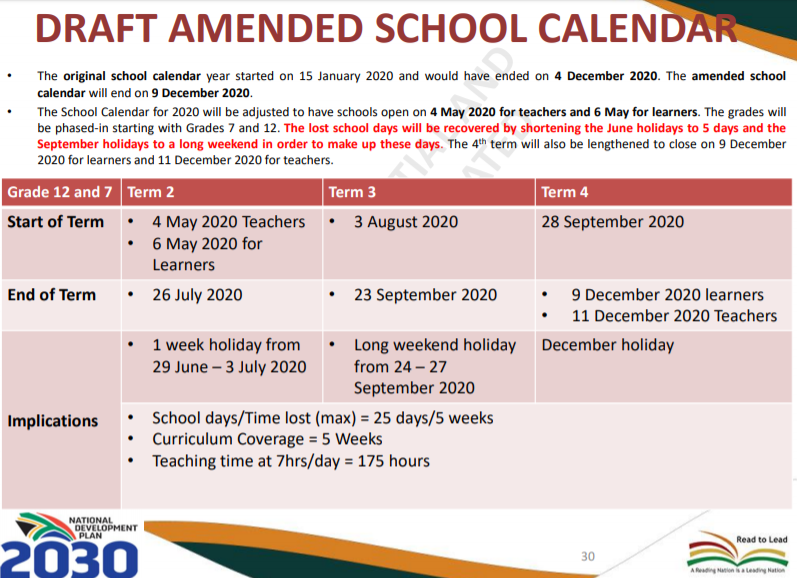 amended school calendar 2 lockdown