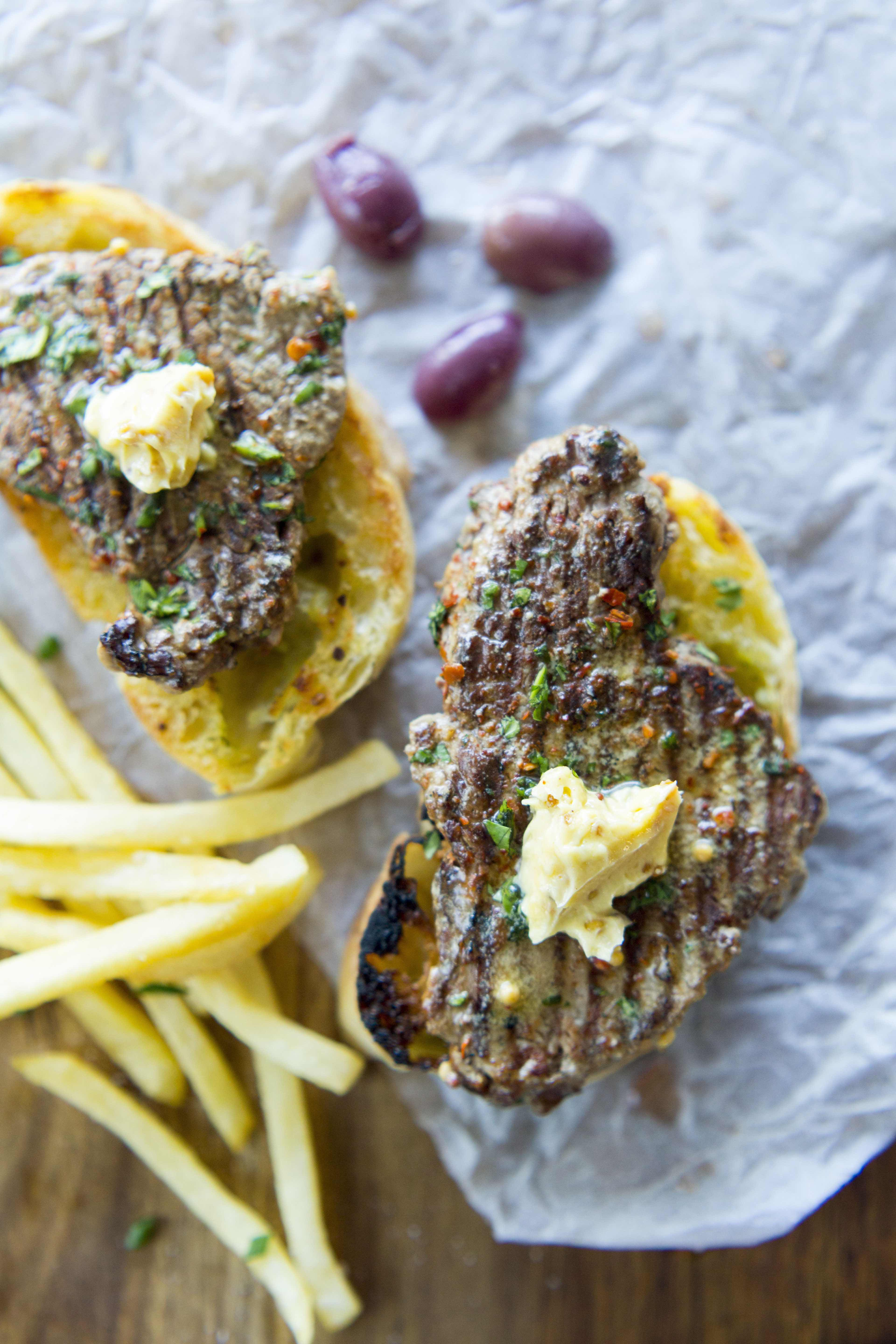 Chilli Chocolate Chefs' Steak with Mustard Butter & French Fries