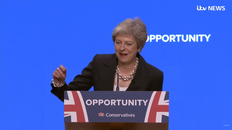 Theresa May dances her way onstage to Abba at Tory conference