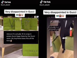 WATCH: A Gucci store is paying people to pose with empty shopping bags