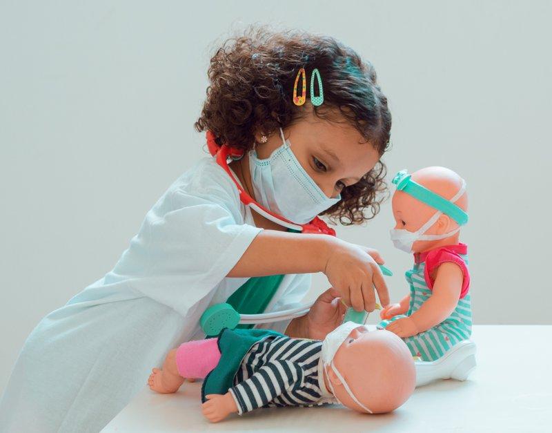 Toddler wearing a mask