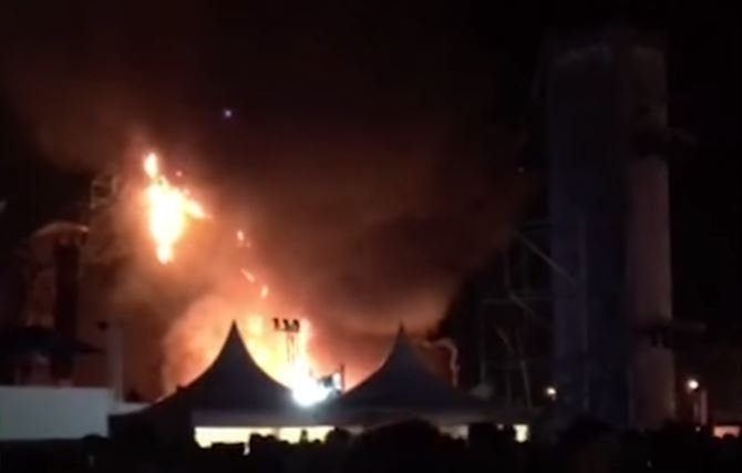 Fire Destroys Stage at Spain Festival Fire