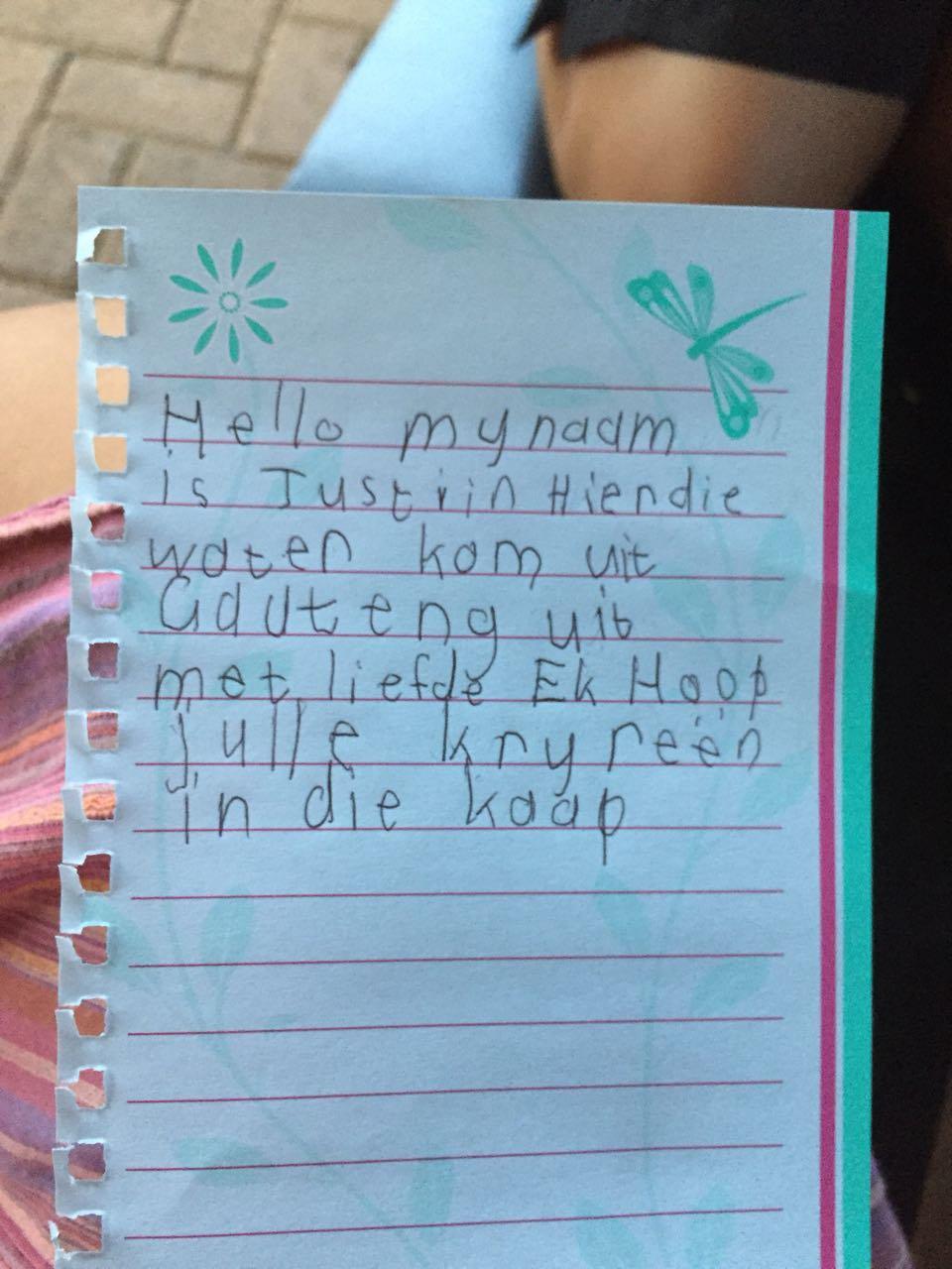 justin's letter