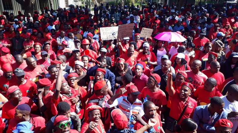 EFF supporters outside Morocco Embassy
