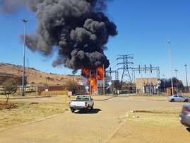 Substation catches fire