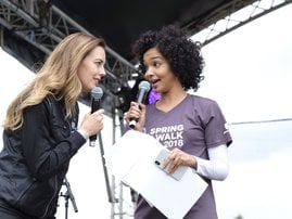 Liesl and Elma on stage spring walk